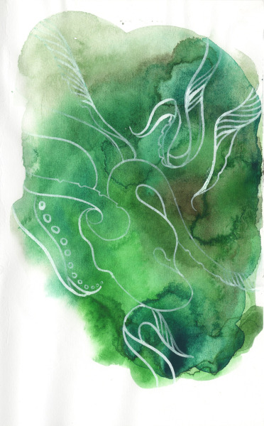 "emerald octopus : watercolors, acrylic ink: 4"" x 6"""