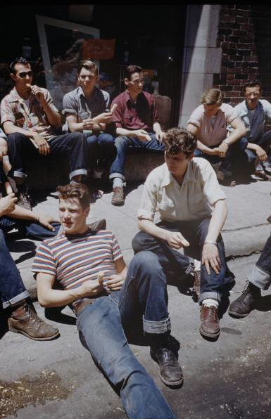 1950sunlimited:   Teens, 1950s Teenage boys wearing the style they are most accustomed to throughout the United States; Jeans, leather boots (shoes are acceptable) and button up shirt with carefully rolled sleeves (a tee shirt may be worn under this or by itself).