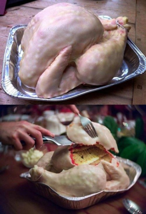Realistic Turkey Cake Is Not Appetizing At All I refuse to give thanks for that.