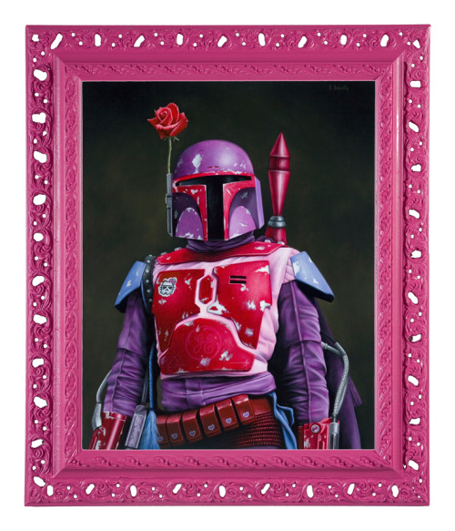 """The sarlacc found me somewhat indigestible."" This pretty pink Boba Fett is the work of artist Scott Scheidly. The painting is part of Scheidly's awesome Pink series (previously featured here). [via Design You Trust]"
