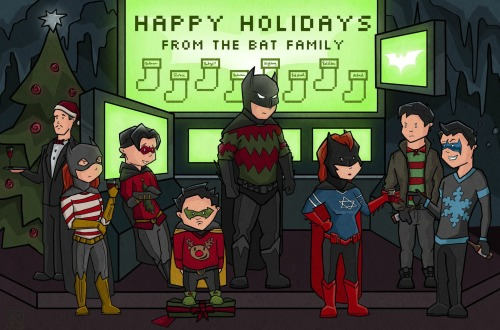 youngjusticer:  Feliz Navidad! Happy Holidays from the Batfamily, by Allanah Vokes.