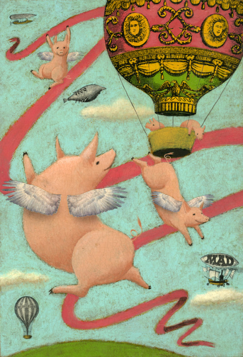 Denise Plauché, When pigs fly (acrylic on wood)