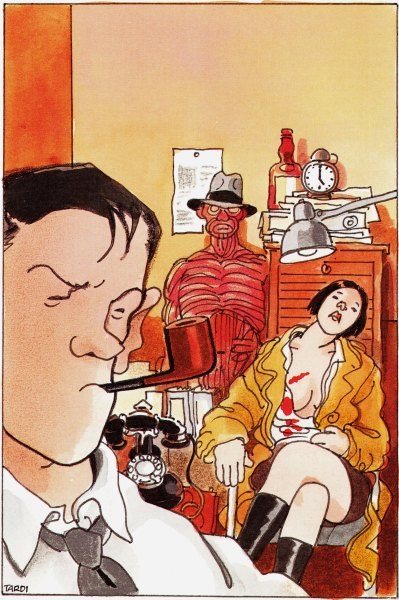 "orano:  Jacques Tardi - Cover for the book ""Un Croque-mort nommé Nestor"" by Léo Malet, Editions Presses de la Cité, Paris  1991"