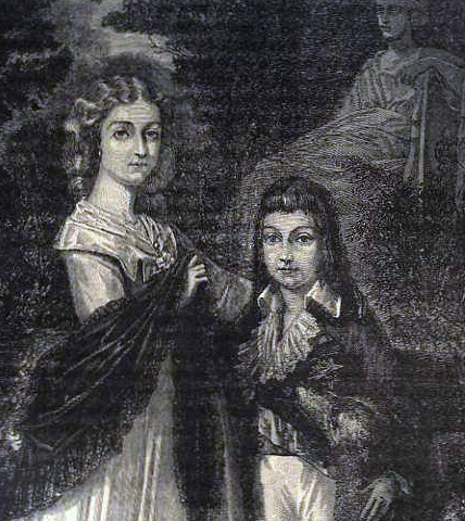 """The Orphans of the Temple."" An engraving of Louis-Charles and Marie-Thérèse Charlotte, the children of Louis XVI and Marie Antoinette. 19th century. source: priceminister.com"
