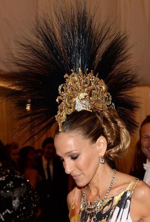 Sarah Jessica Parker in a Philip Treacy head piece at The Met Gala, 2013