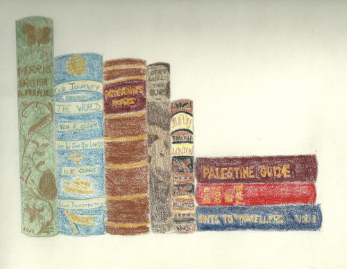 "My Ideal Bookshelf All Old and Well Used A traveller in 1822 Britain relied on this very copy of Paterson's Roads for a milestone by milestone guide along any one of England's roads. It was updated by Edward Mogg whose foreword reads ""To His most Gracious Majesty The King, Sire,   Permitted to lay at Your Majesty's feet this humble tribute of grateful respect, I can only regret my inability to render it as deserving Your Majesty's patronage"". Unfortunately this traveller would not have been able to identify the butterflies they saw on their route as Morris' Guide to Butterflies was not available until 1860.  Perhaps though, 1820's England was not yet conducive to the entomologist as it was to the Victorians  who used this copy of Morris'  guide. James Greenwood shares his journeys through London in his book published in 1873 and by 1984 armchair travel could be had around the world courtesy of  Rev. Francis E. Clark and his  wife Harriet (who is allocated a mere 30 pages for 'a woman's view'  at the end of a 600 page tome. In 'Other Worlds Than Ours' in 1898, Richard Procotor B.A. F.R.A.S. speculates, with typical Victorian wordiness,  that life on Mars is far more likely than not.  He may yet prove to be right.  But so exciting to hold a book from an era when the possibility of reaching the moon was not yet entertained and leaving the ground for more than a moment was almost unheard of. The Handbook of Travel  produced by Harvard University Press in 1935 includes advice on aeroplanes and automobiles versus llamas and pack-horses for transport,   as well as advice on field surgery and elephant shooting.    Hints to Travellers, of the same year, provides detailed gidance on field astronomy and surveying for the amateur planning to map the few remaining unexplored lands. And by 1941 in the midst of WWII,   this Steimazky's guide helped a traveler plan their trip and find food, accommodation and places of interest in Palestine. My Ideal Bookshelf is real and evokes a time when travel was a true adventure, lands remained unexplored and reaching the moon was a distant dream for future generations."