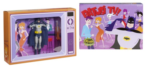 "bettyfelon:  comicsalliance:  Official Batman Classics 1966 TV Series Joker And 'Batusi' Batman Figure Images Arrive By Caleb Goellner Following their reveal at last week's Warner Bros. Consumer Products/Junk Food Clothing launch event last week at Meltdown Comics (where DC's new Batman '66 comic was announced), Mattel has released official images of two upcoming Batman Classic TV Series 6"" action figures including a Cesar Romero Joker and ""Batusi"" Batman. The Joker figure is expected as part of the second wave of Batman Classics following the first wave's rollout in July, while the ""Batusi"" Bats is slated to be a San Diego Comic-con 2013 exclusive. Fans will be pleased to know that this figure will come specially packaged in a TV style diorama recreating the famous scene from the 1966 Batman episode ""Hi Diddle Riddle"" where Adam West debuted the dance to end all dances. Pending the arrival of a King Tut figure in subsequent '66 toy waves, fans could also recreate Batman's go-go moves of choice from ""The Pharaoh's in a Rut"" episode. You can see full images of both Batman Classic TV Series 6"" figures on ComicsAlliance!  2013 will forever be noted as the year that Betty Felon blew all her money on Batman '66 merchandise (and when she developed an accidental crush on Rob Thomas)."
