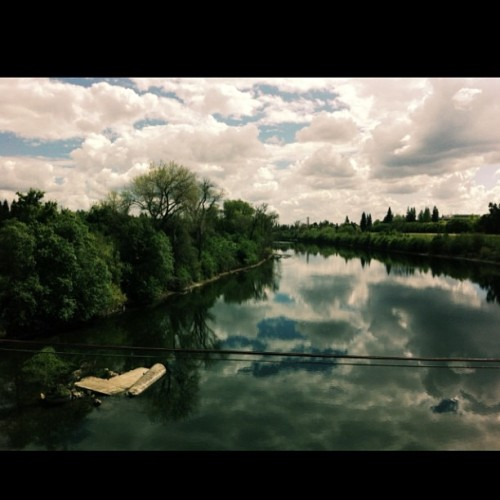 Crazy beautiful day #sacramento #americanriver #latergram #sky #clouds #river #trees