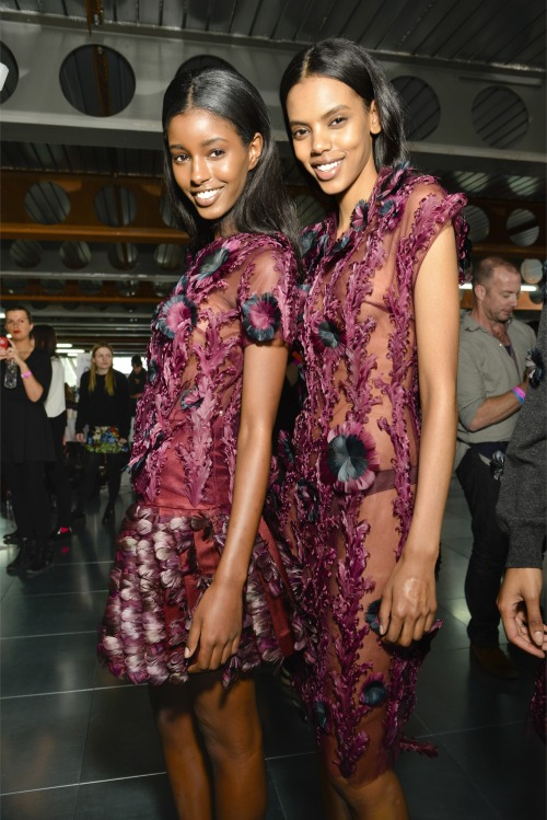 oncethingslookup:  Senait Gidey and Grace Mahary backstage at Christopher Kane Fall 2013 RTW