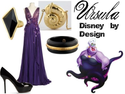 "waltswardrobe:   Ursula from ""The Little Mermaid"" Ballgown dress / Sergio Rossi black high heel pumps / Shell necklace / Alexis Bittar  bracelet / Belle Noel by Kim Kardashian   I was looking at this gown just yesterday and hating not being able to afford it lol"
