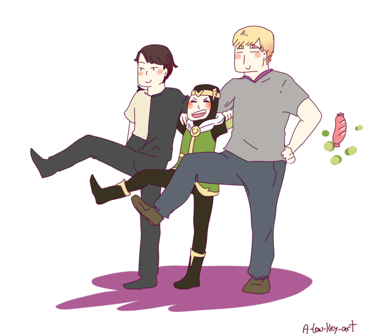Billy, Loki and Teddy dancing can-can. I don't know what's going on anymore.