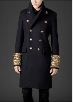 Tall and regal, the result of a crisp military jacket from Burberry Prorsum.
