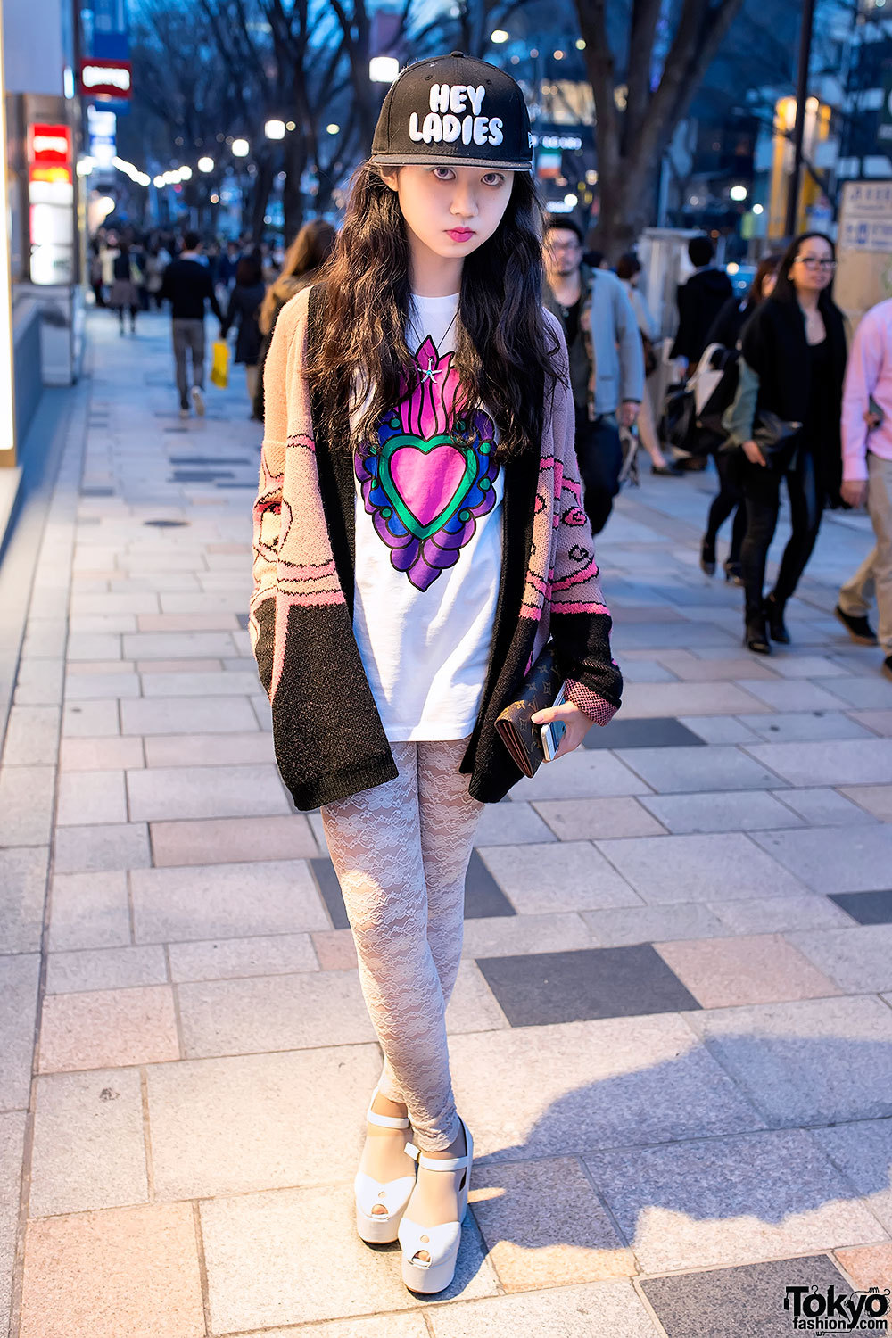 "tokyo-fashion:  Friendly English-speaking Harajuku girl - and lover of 1990s culture - Mayupu w/ graphic top & ""Hey Ladies"" cap."
