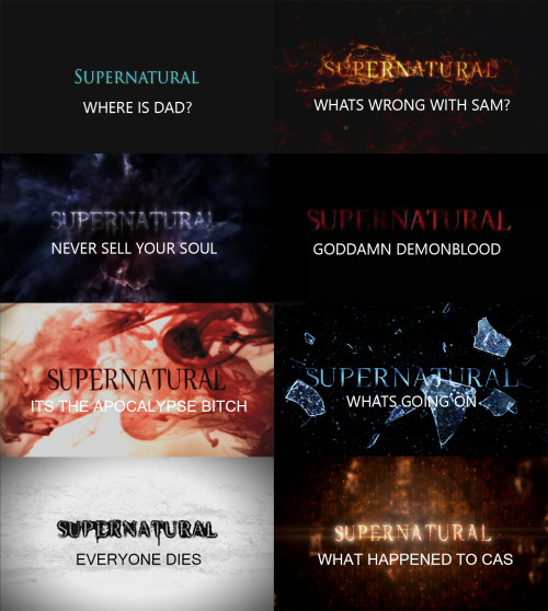 cleverramble:  carryoncastiel:  Supernatural by season  SO ACCURATE IT HURTS.