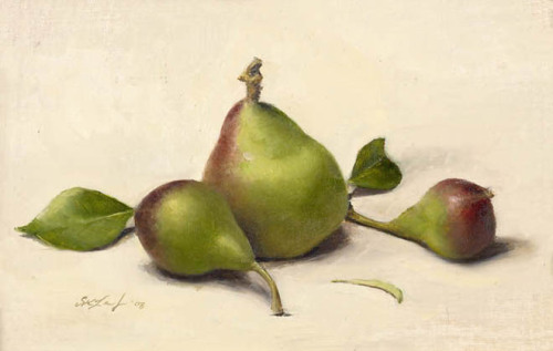 Young Pears (2008) oil on linen by Sarah Lamb