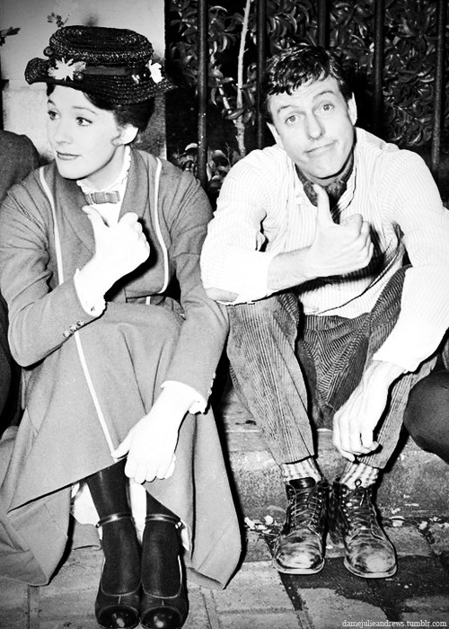 goldfromlight:  Julie Andrews and Dick Van Dyke on the set of Mary Poppins