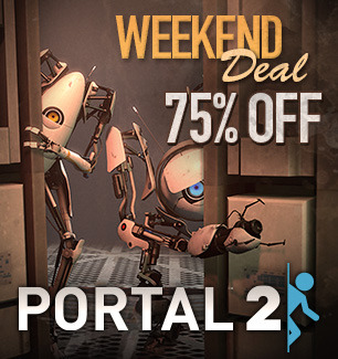 oldmanyellsatcloud:  shirt-alert:  Heads up, little nerdies. Portal 2 is 4.99 on Steam until Monday. :)  Snag it for a friend!  i bought it and made shiloh get it too and now we're screeching like pterodactyls on ecstasy