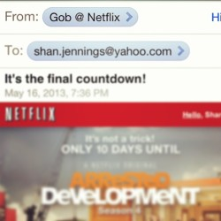 Guys, look at this clever email from the adorable geniuses at Netflix #GOB #arresteddevelopment #netflix #everyonesexcited