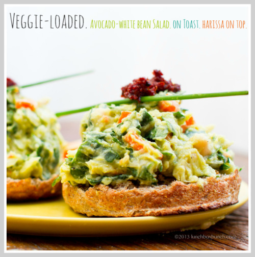 vegan-noob:  Veggie Loaded Avocado White Bean Salad  [photo & recipe from http://kblog.lunchboxbunch.com ] 1 16 oz. can white beans (cannellini) - drained, rinsed1 small avocado, diced1/3 cup sweet onion, diced1 small carrot, chopped1/2 cup spinach, thinly sliced1 tsp apple cider vinegar1 lemon, juiced2 tsp white miso paste1 Tbsp fresh tangerine or orange juice + pinch of zest2 Tbsp nutritional yeast1 Tbsp hemp or sunflower seedspinch of cayenne peppersalt + pepper to taste Directions:1. Add the beans and avocado to a large mixing bowl. Mash well with a fork until thick and chunky, yet creamy like a chunky guacamole or hummus. Mash beans as desired. I like mine well mashed.2. Prep all your veggies and fold into the avocado mixture.3. Whisk the white miso paste with the citrus juices and vinegar. Fold this liquid into the mixture and continue folding until well combined and the veggies begin to soak into the creamy and liquid.4. Serve right away or chill in the fridge for 15-30 minutes before serving. This fresh salad is best served right away, since it slightly separates when left over night in the fridge. Tweak ingredient ideas:* chipotle powder* jalapeno, diced* radish, diced* kale, finely chopped* parsley or herbs, chopped* chopped nuts* omit the miso and just use salt to 'salt'* tsp of tahini   Really yummy :) If you click the photo it should bring you to the website I got this recipe along with many others! Awesome 100% vegan