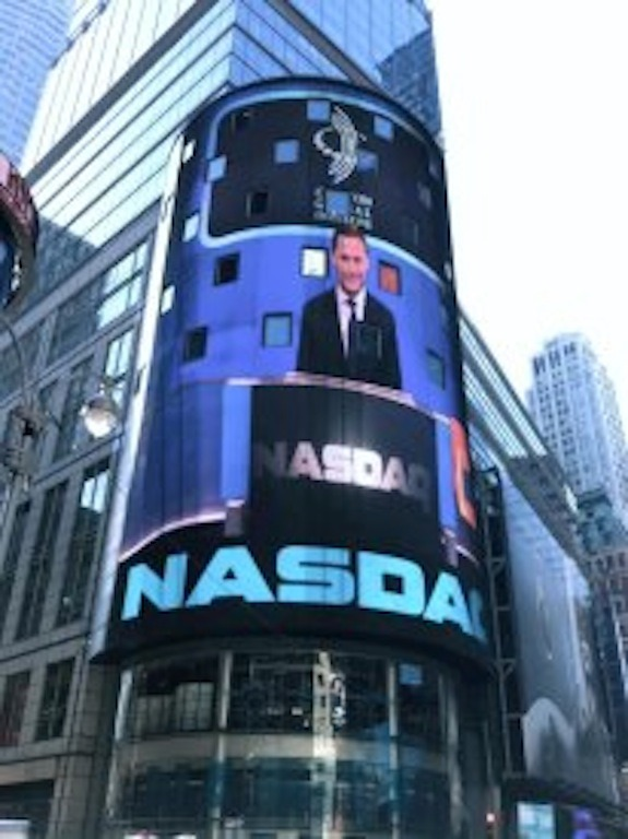 Rock Art Love's Julian Jaeger taking over the NASDAQ during the Clinton Global Initiative in New York City.