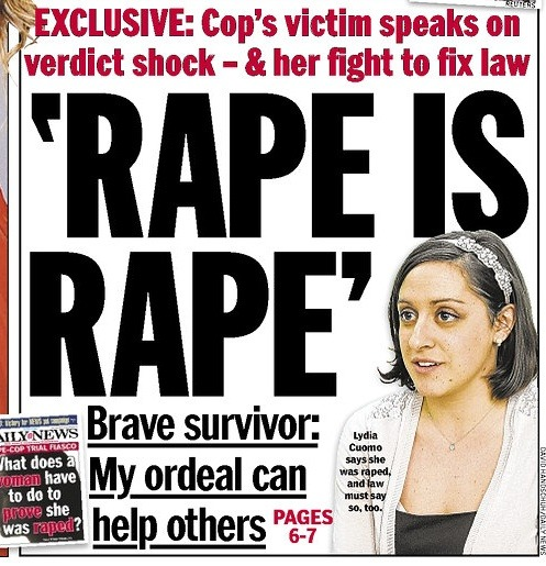 An NYPD rapist who raped a teacher was not charged with rape because oral and anal penetration aren't considered rape in New York State. Let that marinate for awhile. (via Teacher Raped By NYPD Cop Goes Public, Wants Albany To Change Rape Laws: Gothamist)