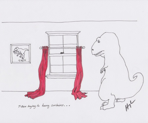 trextrying:  T-Rex Trying To Hang Curtains… #TRexTrying #TBT