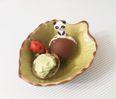 green tea ice cream chocolate balls