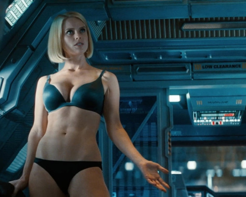 Alice Eve from Star Trek Into Darkness.   It's certainly beautifully looking and provides a mostly, fun, amusing adventure. Unfortunately, the actual mechanics of the film as a whole provides an inconsistent, disapointing follow up to director J.J. Abrams' 2009 series re-imagining. Into Darkness is full of entertaining scenes and compelling acting, but the story, execution, and its overall contruction are hollow and severely underdeveloped.