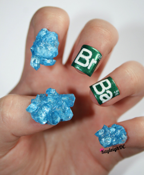 Breaking Bad Nail ArtAs I said, I have some newer, *slightly* clearer photos of some of my old sets so I'm gonna be uploading those every now and again :)Here are my Breaking Bad nails (the original photo I uploaded last July is here - http://fav.me/d574rfy).Can't wait to see the final episodes. I think the break's been going on long enough! >:(