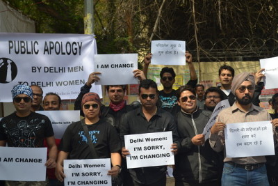 "thefeministme:  Delhi Men stand up against rape culture.  ""Instead of pointing the finger at each other you have to look at yourself and it's really important for men to start by saying sorry,"""