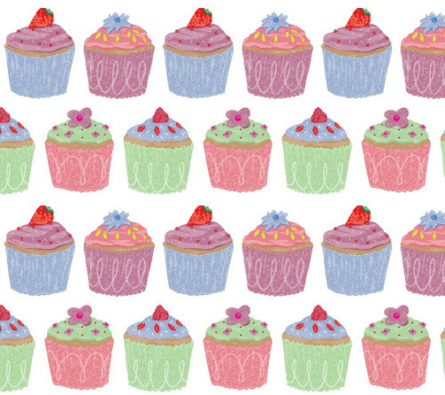 Cupcake Pattern! I'm trying out a slightly different technique of starting with a paint brush first. I love getting back to handmade techniques but love clean finish you get on Adobe Illustrator. So maybe this is the perfect combination of the two for me?  I'd love to get more into surface pattern!
