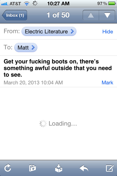 I know I'm posting it a few days late, but this is the best email newsletter subject line I've ever seen.