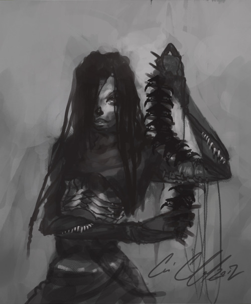 fetalnightmare:  'The Walking dead'  This is what I imagined Michonne would look like before season 3. Needless to say I was disappoint