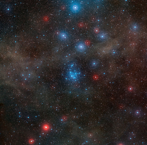 Stars In The Cluster NGC 2547      This pretty sprinkling of bright blue stars is the cluster NGC 2547, a group of recently formed stars in the southern constellation of Vela (The Sails). This image was taken using the Wide Field Imager on the MPG/ESO 2.2-metre telescope at ESO's La Silla Observatory in Chile.      Image: Wide-field view of the open star cluster NGC 2547 Credit: ESO/DSS 2. Acknowledgement: Davide De Martin      The Universe is an old neighbourhood — roughly 13.8 billion years old. Our galaxy, the Milky Way, is also ancient — some of its stars are more than 13 billion years old (eso0425). Nevertheless, there is still a lot of action: new objects form and others are destroyed. In this image, you can see some of the newcomers, the young stars forming the cluster NGC 2547.      But, how young are these cosmic youngsters really? Although their exact ages remain uncertain, astronomers estimate that NGC 2547's stars range from 20 to 35 million years old. That doesn't sound all that young, after all. However, our Sun is 4600 million years old and has not yet reached middle age. That means that if you imagine that the Sun as a 40 year-old person, the bright stars in the picture are three-month-old babies.