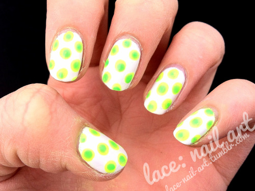 my cuticles are crazy dry right now but here's a fun neon dot manicure featuring cg white on white, celtic sun & in the lime light
