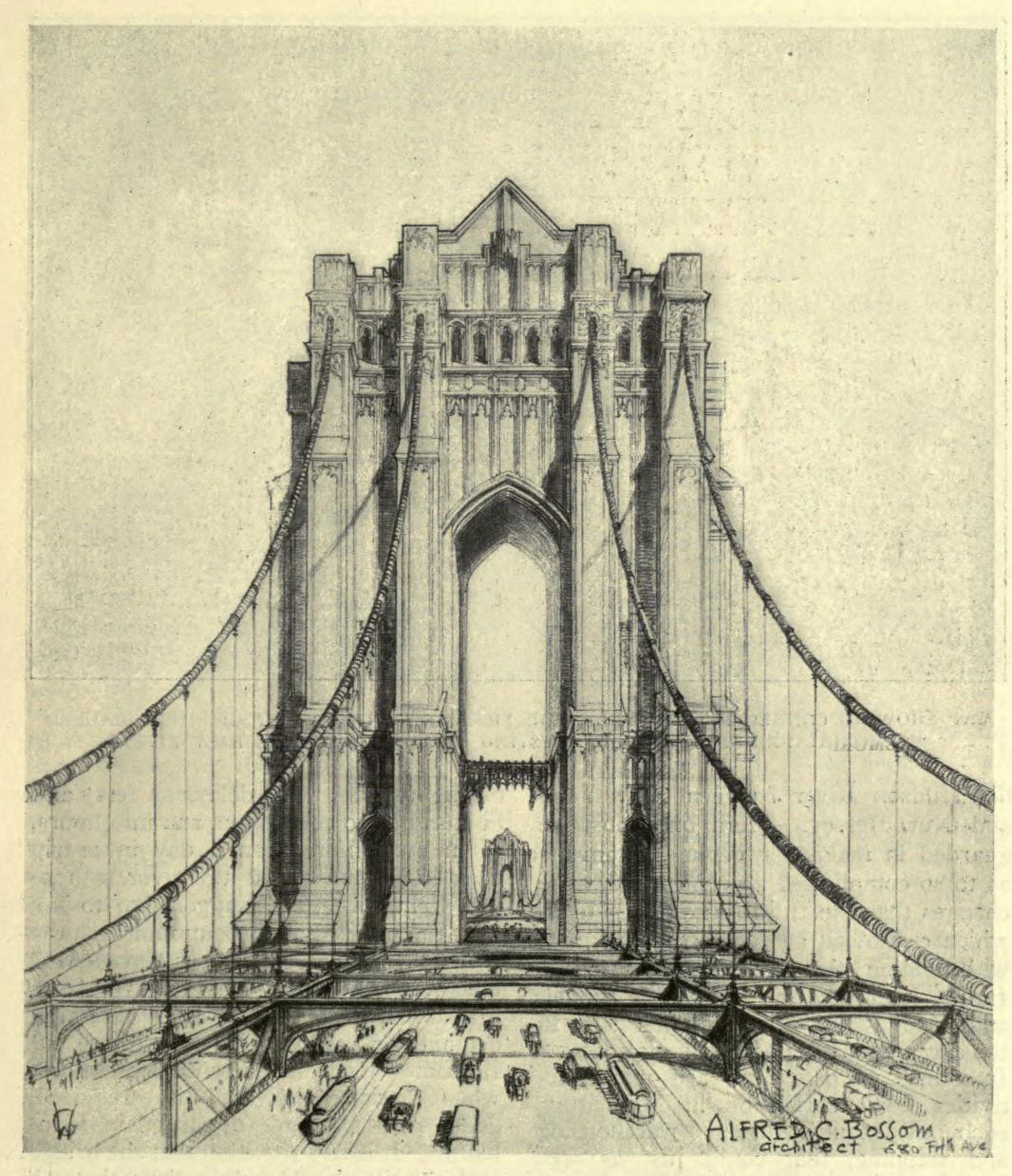 The proposed Victory Bridge over the Hudson, New York City