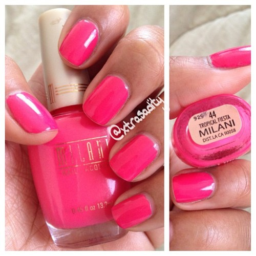 My go-to hot #pink 💖 @milanicosmetics tropical fiesta. I've had this bottle for 5 years and its still goin strong! #nails#nailpolish#swatch#nailswatch#instanail#notd#mani#nailgasm#hotpink#girly#nailporn#beauty