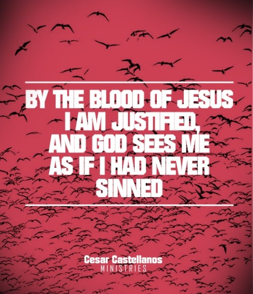 """By the blood of Jesus, I am justified, and God sees me as if I had never sinned."" ~ CCD"