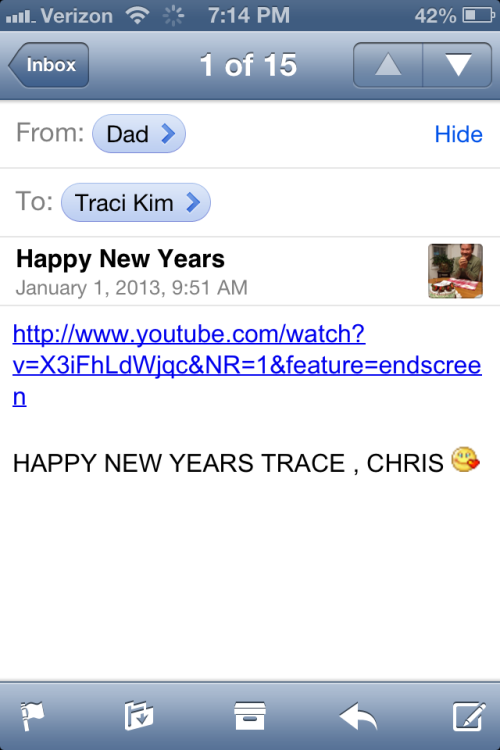 Dad's got my number. Happy New Year!