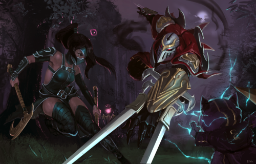 Been wanting to do a serious LoL fanart for a while. I drew this for the League of Legend's face-off contest. Originally it was going to be a bunch of Trundles just smashing each other, but I decided not to do that lol. Added WIP shots from my twitter ^p^/  Shen is in there if you look really hard (jk he's not in there)