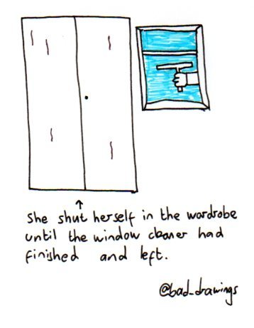 baddrawingsofmydailylife:  A bad drawing of waiting for the window cleaner to go.   For @SoVeryBritish   Under a desk in my case.