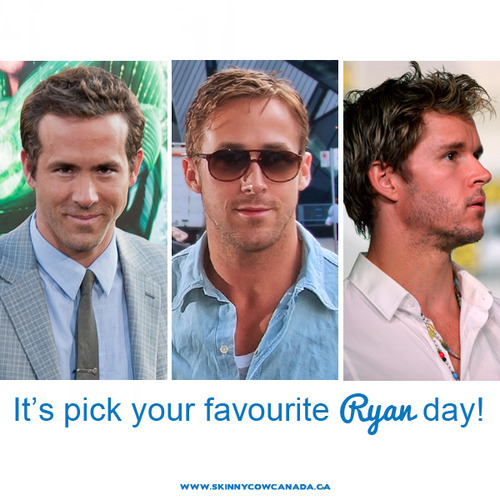 skinnycowcanada:     It's PICK YOUR FAVOURITE RYAN DAY! Comment with your pick - promise I won't judge! (To be honest, I'll totally judge because I'm Team Gosling all the way)