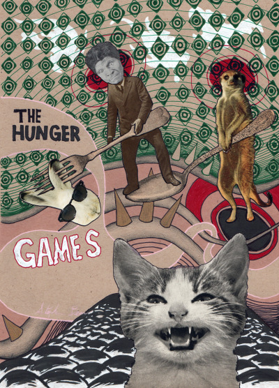 The Hunger Games: collage and drawing