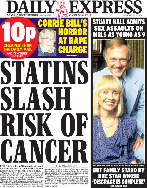 "3rd May 2013: Statins are back! The front page headline says Statins slash risk of cancer but the story re-words it as Cholesterol drug slashes prostate cancer deaths. From the article: Statins, which already save hundreds of thousands of lives by preventing heart attacks and stroke, have been shown to slash the risk of men dying from prostate cancer.So far so good… This latest research adds to growing scientific evidence that the cheap and effective daily pills could play a major part in slashing the toll of all forms of cancer. The disease claims at least 157,000 lives in Britain each year.So ""slash risk"" is actually ""could play a major part in slashing the toll ""? What do the experts say? Dr Janet Stanford, the co-director of the Prostate Cancer Research Programme at Fred Hutchinson Cancer Research Centre in Seattle, said: ""If the results of our study are validated with extended follow-ups, a trial of statin drugs in prostate cancer patients may be justified.""She's a bit vague and it's her study. How about another expert?Dr Milan Geybels, a former researcher in Dr Stanford's group now based at Maastricht University in Holland, warned: ""While statin drugs are relatively well tolerated, with a low frequency of serious side effects, they cannot be recommended for the prevention of prostate cancer deaths until a preventive effect has been demonstrated in a large clinical trial."" Well this is all very familiar Express Health territory."
