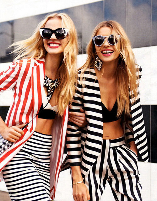 what-do-i-wear:  Anne Vyalitsyna and Jessica Hart for Harper's Bazaar US March 2013 edition, photographed by Tommy Ton.