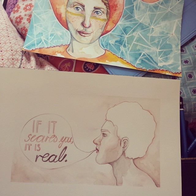 If it scares you, it is real.  #art #artwork #painting #portrait #illustration #instaart #watercolor #drawing #design