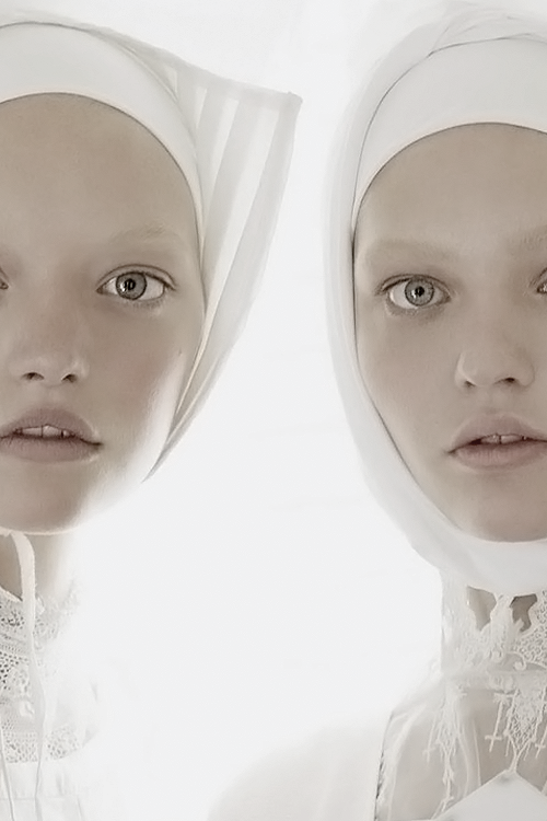 "pivoslyakova:  Close-up of Gemma Ward and Sasha Pivovarova in ""Organized Robots"" by Steven Meisel 