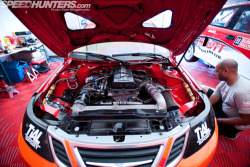 Saab 9-3 at  the 2012 X-Games Rallycross Championship Notice the engine sitting longitudinally, and the Classic 900 head cover.