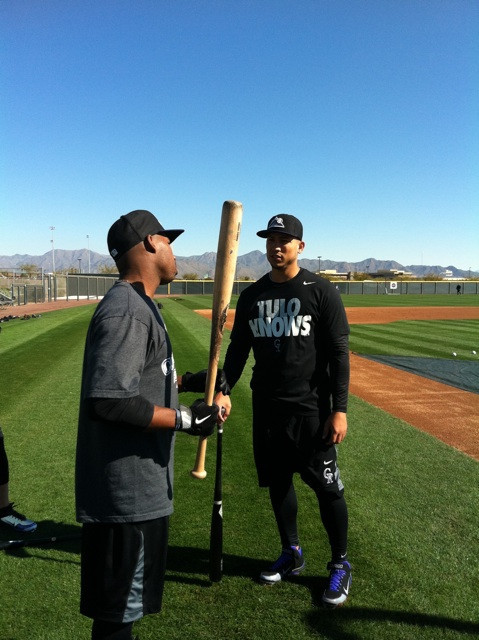 Carlos Gonzalez and Jonathan Herrera talk during BP  Even CarGo knows that Tulo knows.