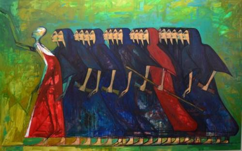 indigenousdialogues:  Egyptian artist, Alaa AwadWomen of Egypt, Rise!Oil on canvas140 x 200 cm2012